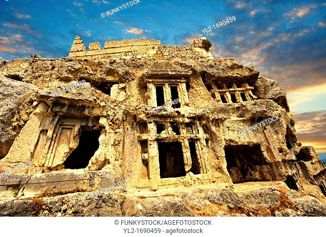 Tlos acropolis and Lycian house and temple-type rock-cut tombs  Tlos is where the mythological hero Bellerophon winged flying horse Pegasus lived  Anatolia