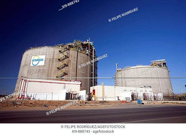 Facilities of Spanish company Enagas in chemical industries complex. Huelva, Andalusia, Spain