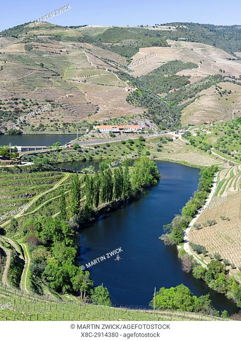 Mouth of Rio Tedo into river Douro. The valley of river Douro. It is the wine growing area Alto Douro and listed as UNESCO World heritage
