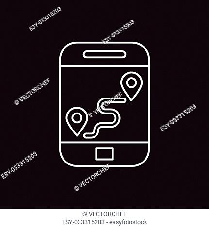 cellphone map line icon