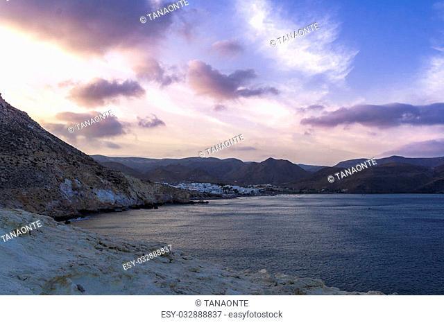 Las Negras Beach is a part of the natural park of Cabo de Gata, Almeria, Spain.Blue hour view