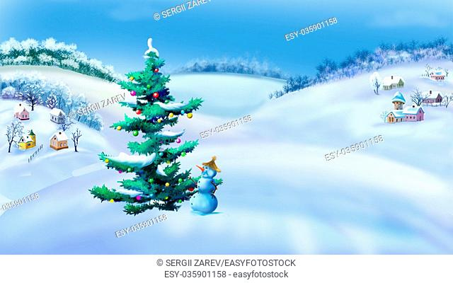 Rural Landscape with Christmas Tree and Snowman in a Wonderful Winter Day. Outdoor New Year scene, handmade illustration in a classic cartoon style
