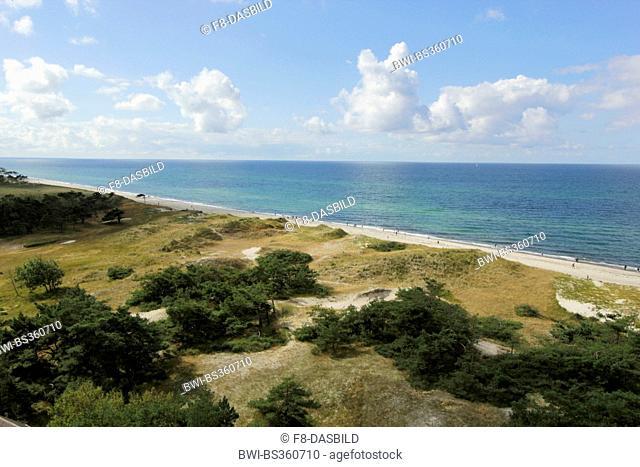 view from Darss lighthouse to the Baltic Sea Coast, Germany, Mecklenburg-Western Pomerania, Western Pomerania Lagoon Area National Park, Born auf dem Darss