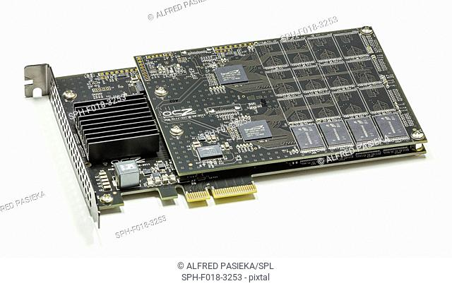 Photograph of a 240 GB solid-state drive (SSD, also known as a solid-state disk. This is a solid-state storage device that uses integrated circuit assemblies as...