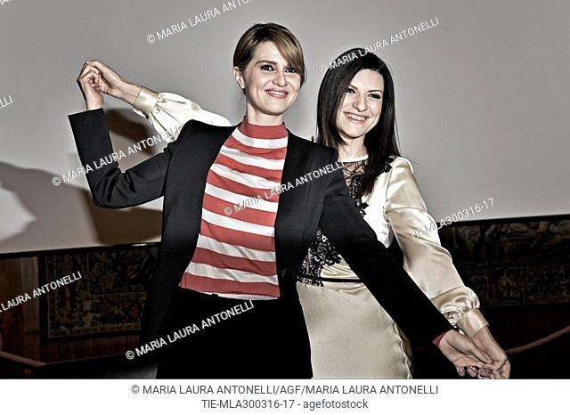 The actress Paola Cortellesi and the singer Laura Pausini during the photocall presentation of the TV Show Laura e Paola. TV studios RAI. Rome. Italy