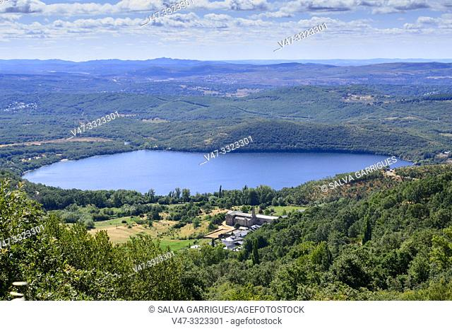 View from above of the Sanabria lake and the village of San Martin de Castañeda, surrounded by forest