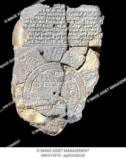 Babylonian world map, c600 BC, the earliest known map of the world. Clay tablet with cuneiform script at top. Writing Cartography Ancient Civilisation...