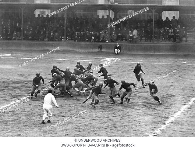 Ossining, New York: c. 1929 Number 82,064 carries the football for the Sing Sing prisoners football team as they play aginst the Naval Militia team in Ossining