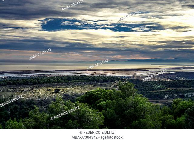 View of Gruissan and the Saline, Le Salin de I'le Saint-Martin, mountains and Mediterranean Sea