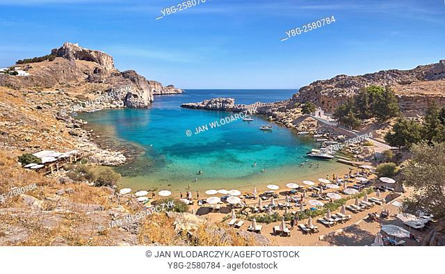 The Harbour of the Apostle Paulus near Lindos (St. Paul's Bay), Rhodes Island, Greek Dodecanese