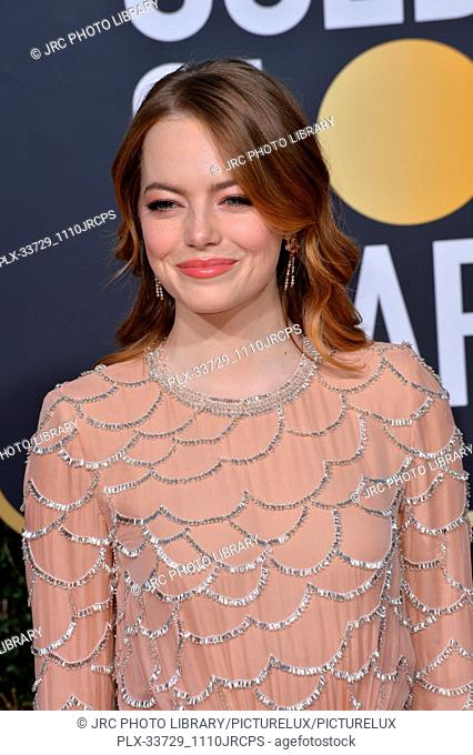 LOS ANGELES, CA. January 06, 2019: Emma Stone at the 2019 Golden Globe Awards at the Beverly Hilton Hotel. © 2019 JRC Photo Library/PictureLux ALL RIGHTS...
