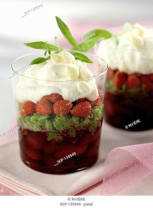 Cherries in syrup,confit angelica,wild strawberries and cream Verrine