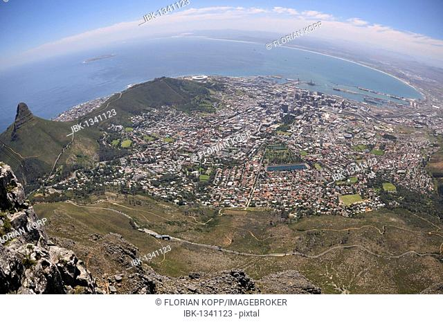 Panorama of Cape Town, view from Table Mountain, South Africa, Africa