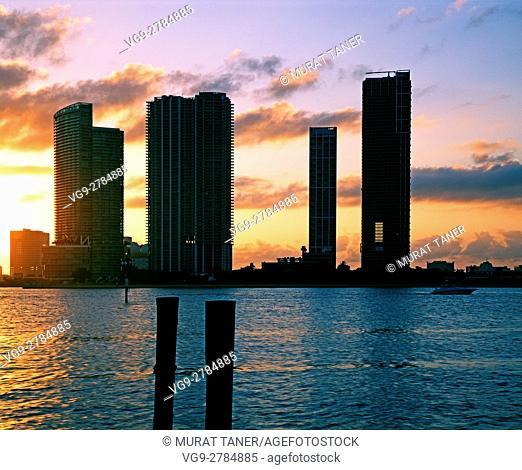 Skyline of Miami at sunset