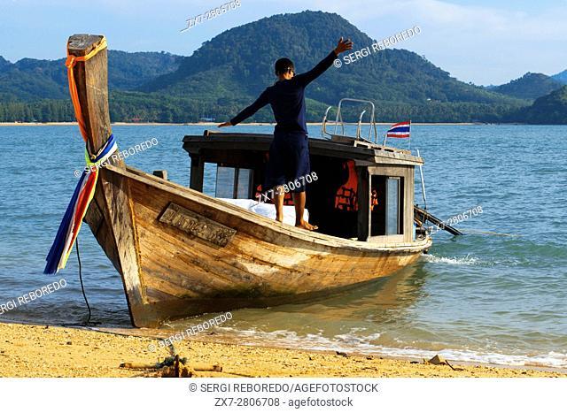 Six Senses Resort, Koh Yao Noi, Phang Nga Bay, Thailand, Asia. Sunrise in Koh Hong archipelago. Six Senses Yao Noi sets the highest benchmark for island resort...