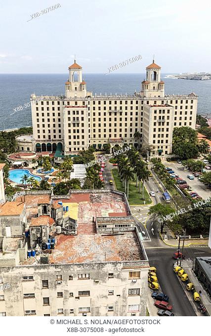 The historic Hotel Nacional de Cuba located on the Malecón in the middle of Vedado, Cuba