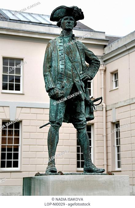 England, London, Greenwich, A statue of Captain James Cook at the Old Royal Naval College