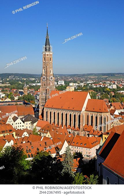 Landshut, Bavaria, Germany. Landshut Cathedral - Tallest Brick built tower in the world, seen from Burg Trausnitz (castle) above the town