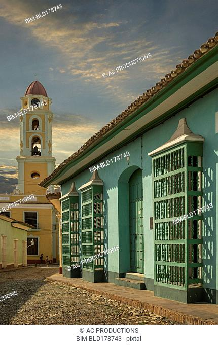 Bell tower and building in Trinidad, Sancti Spiritus, Cuba