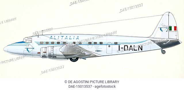Four-engine aircraft SIAI-Marchetti SM 95, 1946, drawing, Italy, 20th century