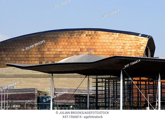 The roofs of the senned, Welsh national assembly, and the Millenium centre in Cardiff