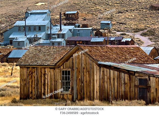 Stamp Mill and wooden house, Bodie State Historic Park, Mono County, California