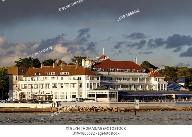 The Haven Hotel, Sandbanks, where Guglielmo Marconi carried out some of his first wreless transmission experiments, Poole Harbour, Dorset, England, UK