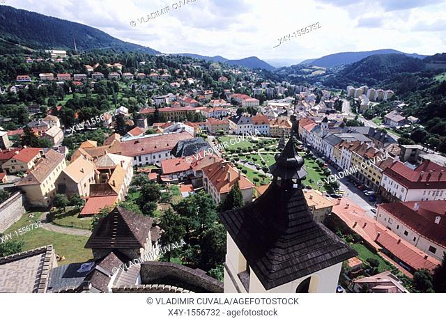 View of the medieval mining town Kremnica in Slovakia from the historic castle's tower