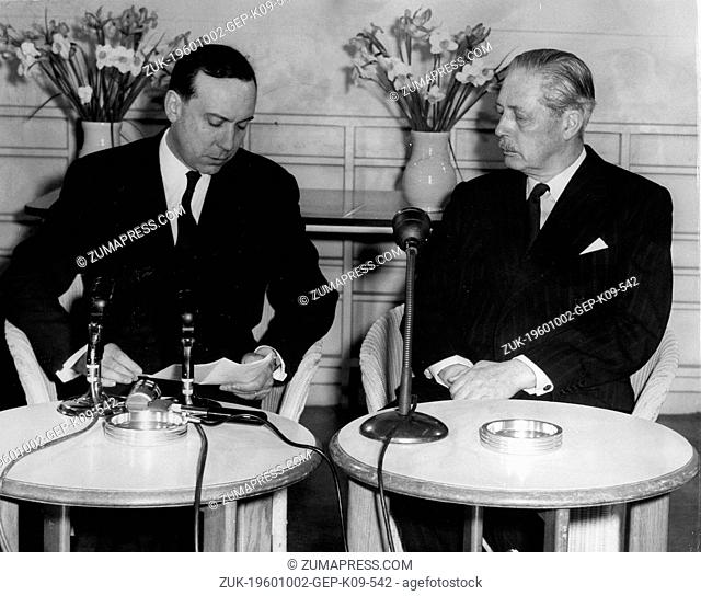 Apr. 13, 1959 - Northolt, England, U.K. - Prime Minister HAROLD MACMILLAN at a press conference with French Premier MAURICE COUVE de MURVILLE
