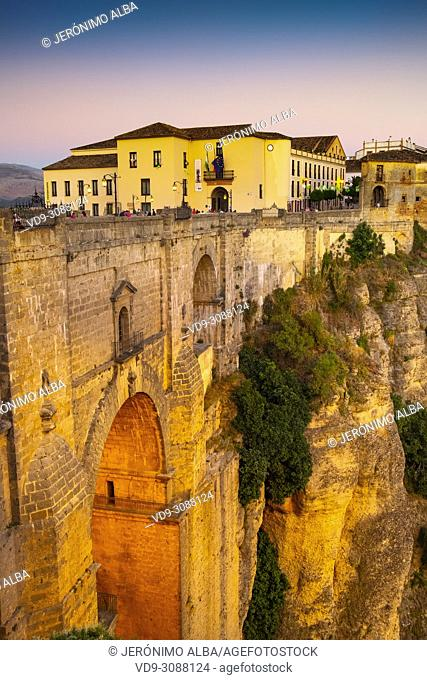Puente Nuevo bridge over Guadalevín River in El Tajo gorge. Monumental city of Ronda. Malaga province Andalusia. Southern Spain Europe