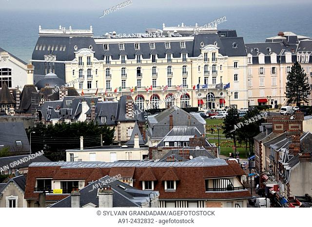 France, Normandy, Basse Normandie, Sea resort city of Cabourg, in the footsteps of writer Marcel Proust in Grand Hotel 1907-1914, aerial view on the city