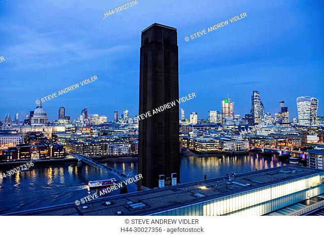 England, London, Southwark, Bankside, City Skyline View from Tate Modern