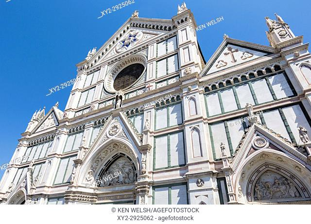 Florence, Florence Province, Tuscany, Italy. Santa Croce church. The Historic Centre of Florence is a UNESCO World Heritage Site