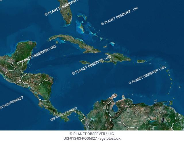 Satellite view of Central America and the Caribbean (with country boundaries). This image was compiled from data acquired by Landsat 7 & 8 satellites