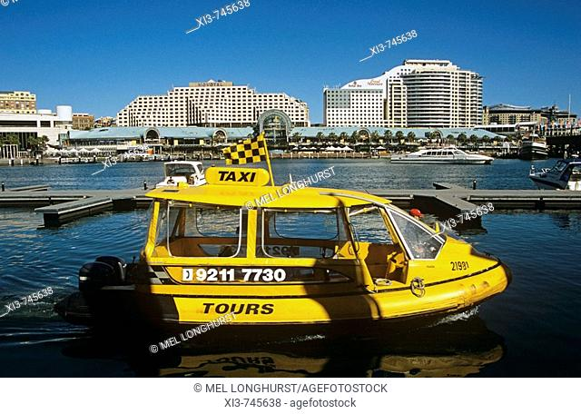 Yellow water taxi and Novotel and Ibis Hotels, Darling Harbour, Sydney, New South Wales, Australia