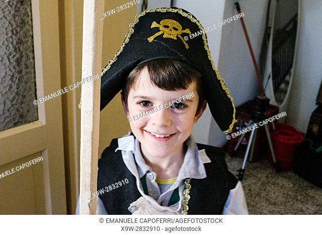 child dressed as a pirate
