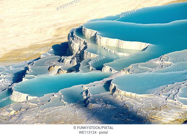 Pamukkale Travetine Terrace, Turkey Images of the white Calcium carbonate rock formations
