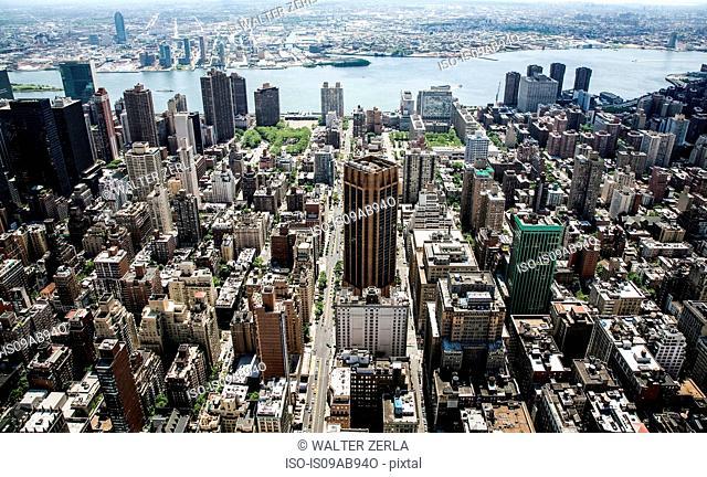 Above New York, New York State, USA