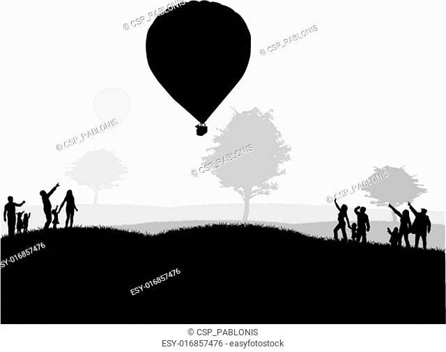 group of people - show of flying balloons