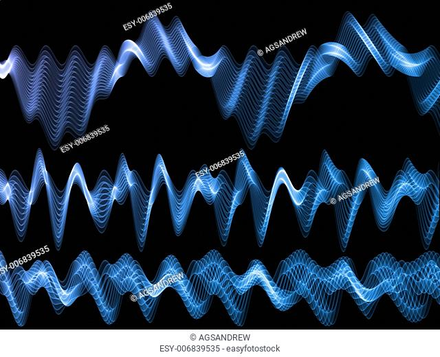 Abstract sound wave rendered in blue against black background