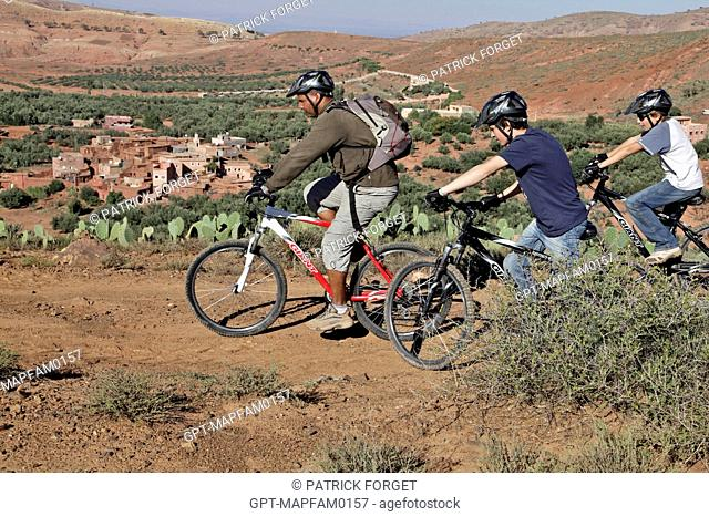 MOUNTAIN BIKING WITH A GUIDE AROUND THE BERBER VILLAGE OF TAHANAOUTE, SPORTS ACTIVITY AT THE DOMAINE DE TERRES D'AMANAR, AL HAOUZ, MOROCCO