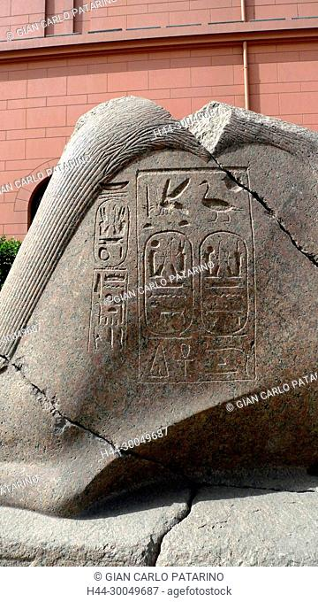 Egyptian Museum in Cairo.A detail of a stele showing the cartouches of Merenptah in the courtyard of the Museum