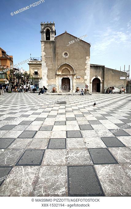 Sant'Agostino church in Piazza IX Aprile, Taormina, Sicily, Italy