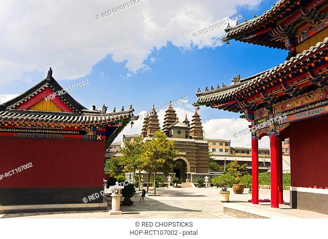 Trees in front of a temple, Five Pagoda Temple, Hohhot, Inner Mongolia, China