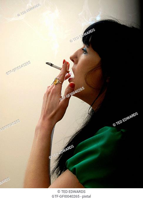 Female smoking cigarette