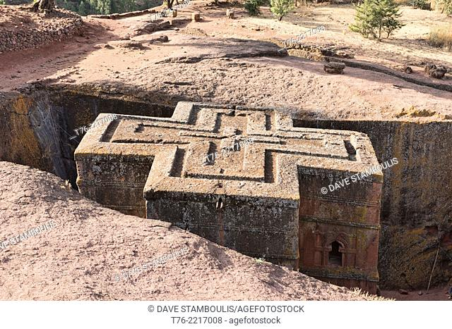 The rock hewn church of Bet Giyorgis in Lalibela, Ethiopia