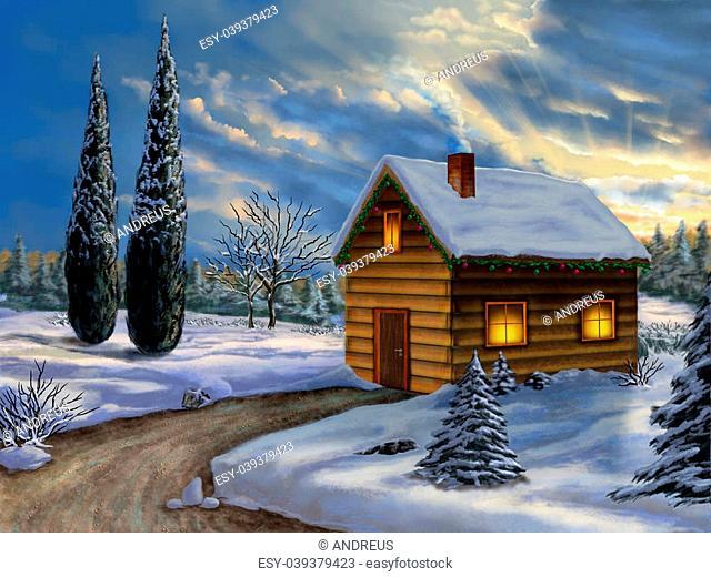 Wooden cabin in a snowy christmas landscape. Digital illustration