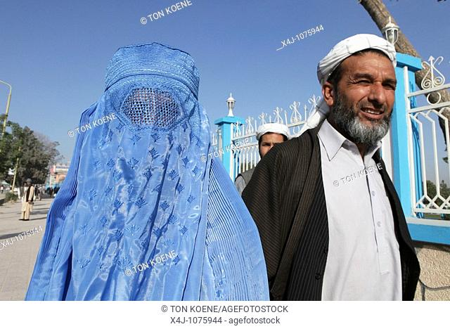 Woman dressed in burqa in Mazar-i-sharif, Afghanistan