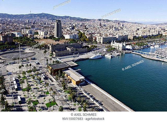 Aerial View, Rambla de Mar, Port Vell, Port, Barcelona, Spain