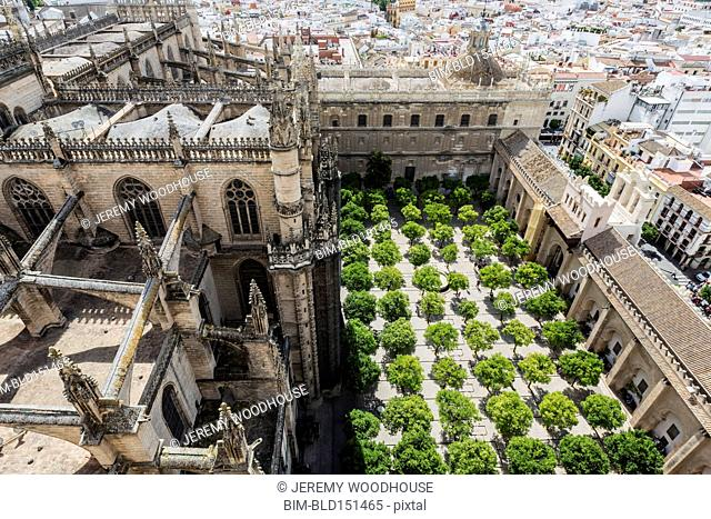 High angle view of courtyard in Seville cityscape, Andalusia, Spain